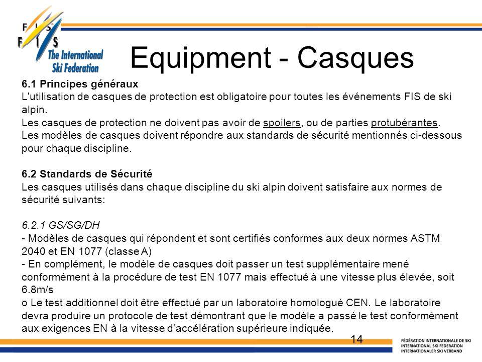 Equipment - Casques 14 6.1 Principes généraux L'utilisation de casques de protection est obligatoire pour toutes les événements FIS de ski alpin. Les