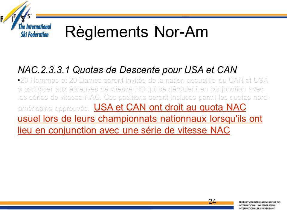 NAC.2.3.3.1 Quotas de Descente pour USA et CAN 20 Hommes et 20 Dames seront invités de la nation accueillie du CAN et USA à participer aux épreuves de vitesse NC qui se déroulent en conjonction avec les séries de vitesse NAC.