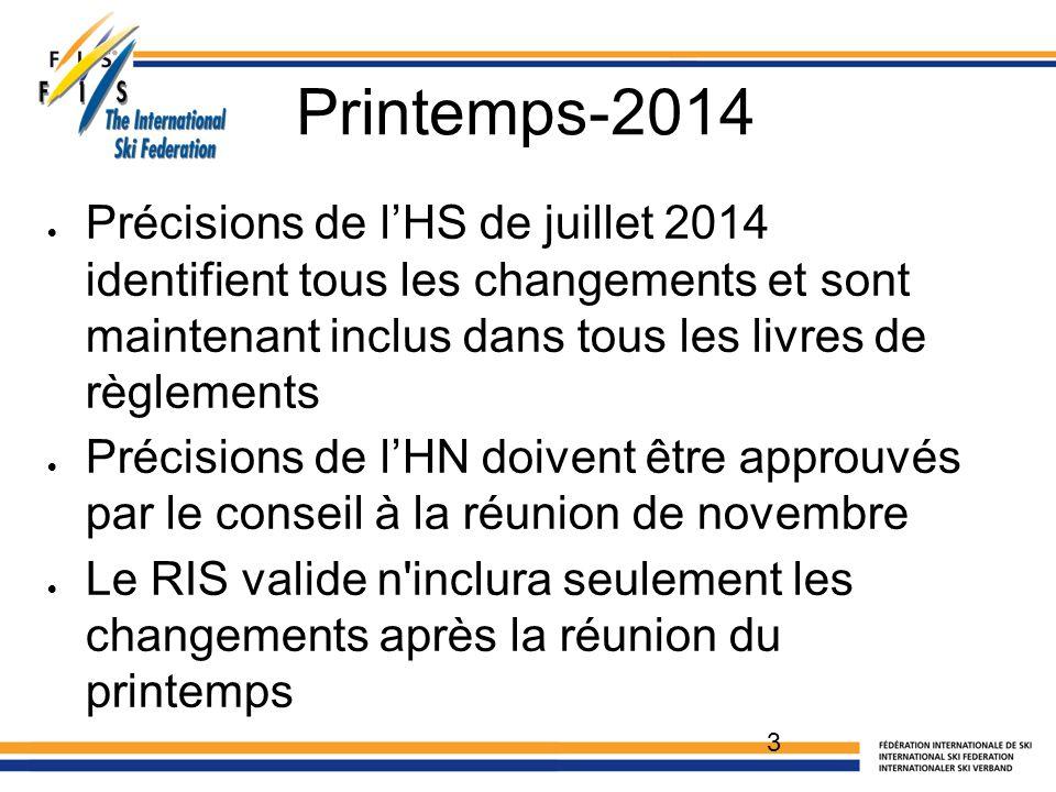 Printemps-2014  Précisions de l'HS de juillet 2014 identifient tous les changements et sont maintenant inclus dans tous les livres de règlements  Précisions de l'HN doivent être approuvés par le conseil à la réunion de novembre  Le RIS valide n inclura seulement les changements après la réunion du printemps 3