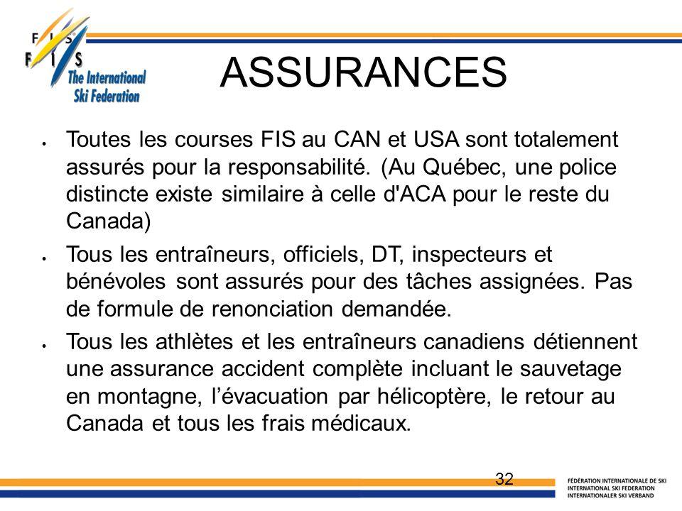 ASSURANCES 32  Toutes les courses FIS au CAN et USA sont totalement assurés pour la responsabilité.