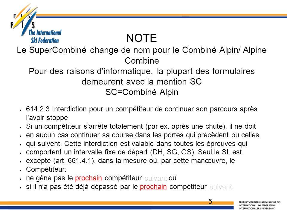 5 NOTE Le SuperCombiné change de nom pour le Combiné Alpin/ Alpine Combine Pour des raisons d'informatique, la plupart des formulaires demeurent avec