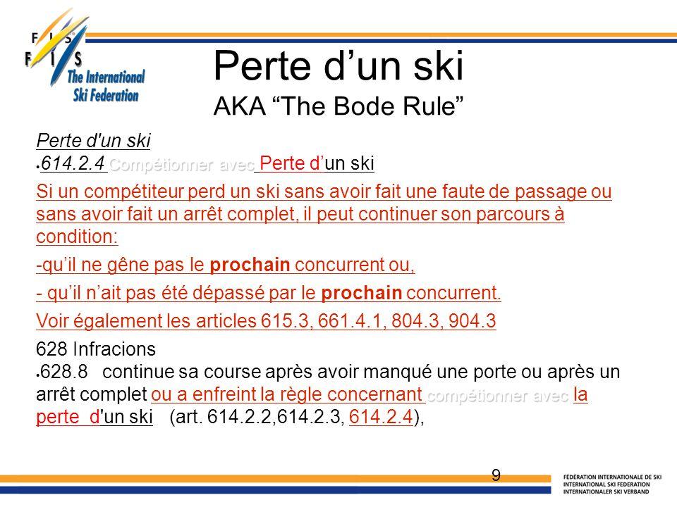 Perte d'un ski AKA The Bode Rule Perte d un ski Compétionner avec  614.2.4 Compétionner avec Perte d'un ski Si un compétiteur perd un ski sans avoir fait une faute de passage ou sans avoir fait un arrêt complet, il peut continuer son parcours à condition: -qu'il ne gêne pas le prochain concurrent ou, - qu'il n'ait pas été dépassé par le prochain concurrent.