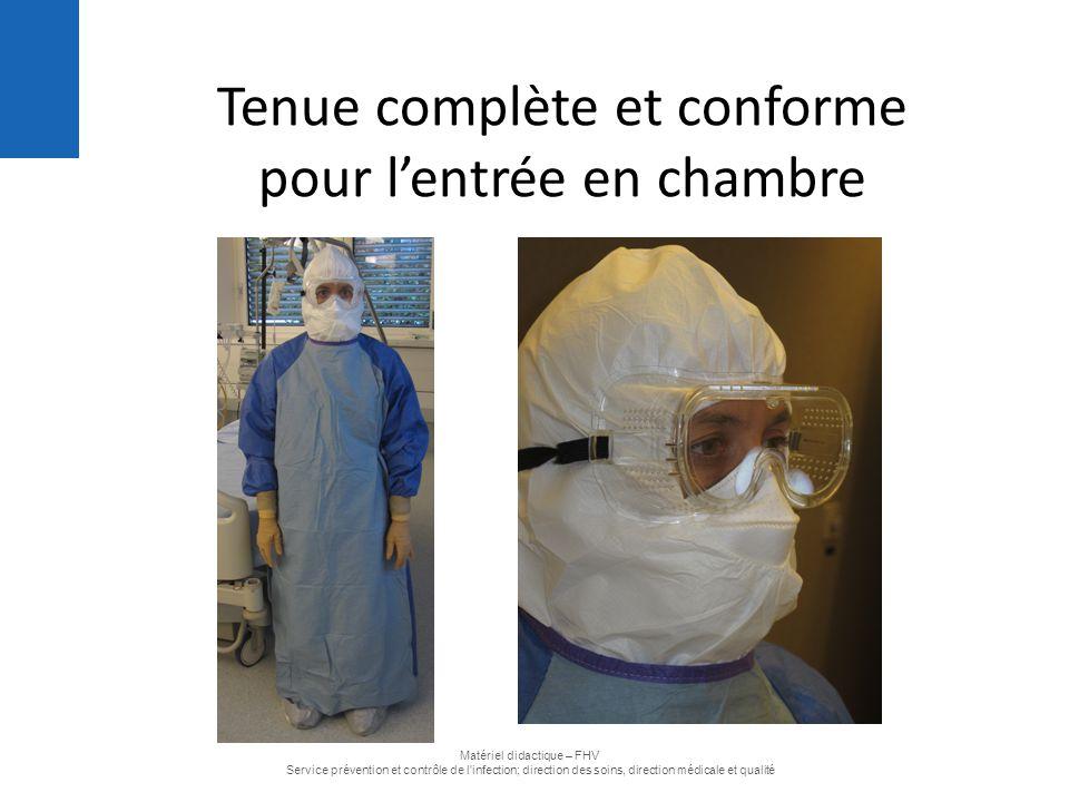 Tenue complète et conforme pour l'entrée en chambre Matériel didactique – FHV Service prévention et contrôle de l'infection; direction des soins, dire