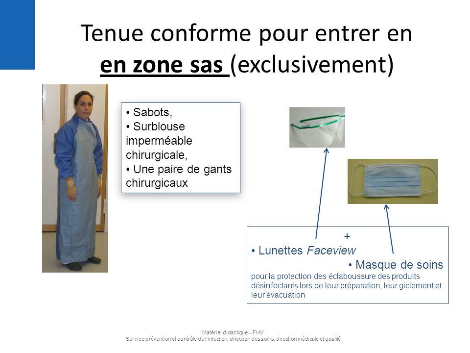 Tenue conforme pour entrer en en zone sas (exclusivement) Sabots, Surblouse imperméable chirurgicale, Une paire de gants chirurgicaux Sabots, Surblous