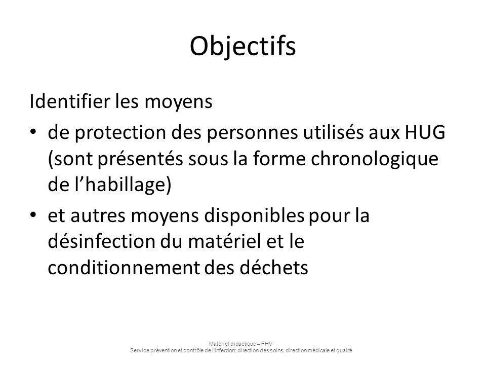 Objectifs Identifier les moyens de protection des personnes utilisés aux HUG (sont présentés sous la forme chronologique de l'habillage) et autres moy