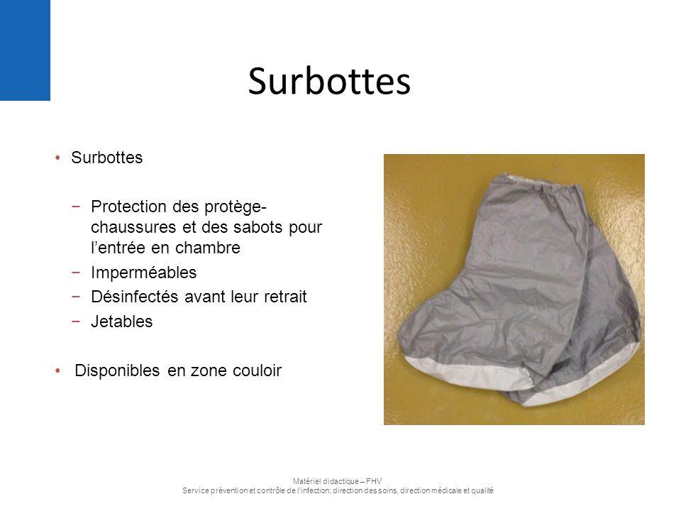 Surbottes −Protection des protège- chaussures et des sabots pour l'entrée en chambre −Imperméables −Désinfectés avant leur retrait −Jetables Disponibl