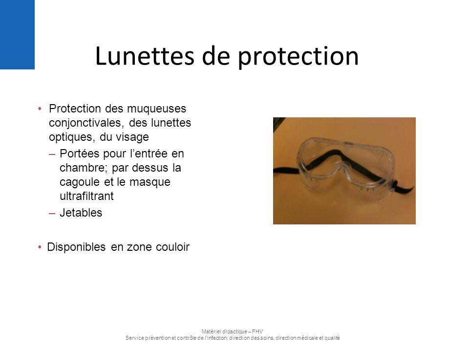 Protection des muqueuses conjonctivales, des lunettes optiques, du visage –Portées pour l'entrée en chambre; par dessus la cagoule et le masque ultraf