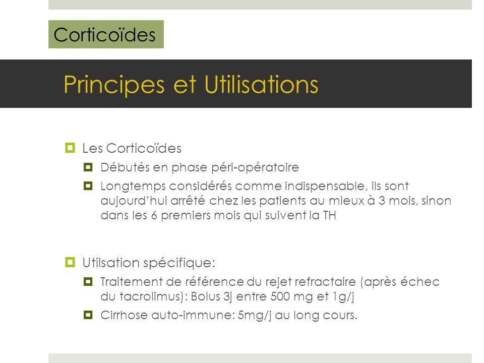 Principes et Utilisations  Les Corticoïdes  Débutés en phase péri-opératoire  Longtemps considérés comme indispensable, ils sont aujourd'hui arrêté