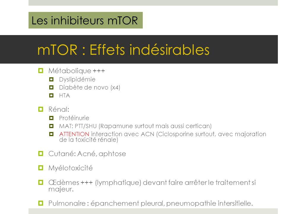 mTOR : Effets indésirables  Métabolique +++  Dyslipidémie  Diabète de novo (x4)  HTA  Rénal:  Protéinurie  MAT: PTT/SHU (Rapamune surtout mais