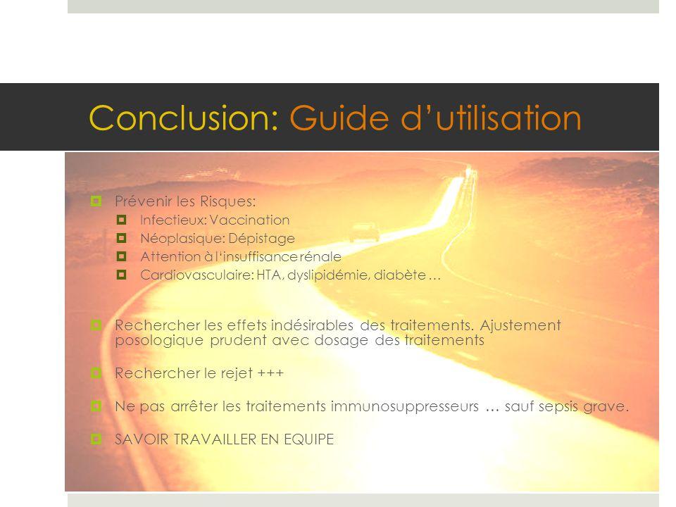 Conclusion: Guide d'utilisation  Prévenir les Risques:  Infectieux: Vaccination  Néoplasique: Dépistage  Attention à l'insuffisance rénale  Cardi