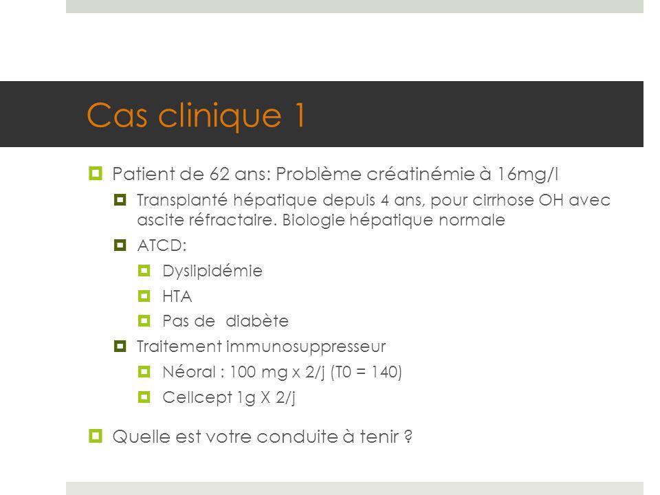 Cas clinique 1  Patient de 62 ans: Problème créatinémie à 16mg/l  Transplanté hépatique depuis 4 ans, pour cirrhose OH avec ascite réfractaire. Biol