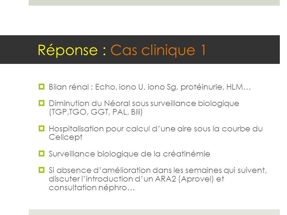 Réponse : Cas clinique 1  Bilan rénal : Echo, iono U, iono Sg, protéinurie, HLM…  Diminution du Néoral sous surveillance biologique (TGP,TGO, GGT, P