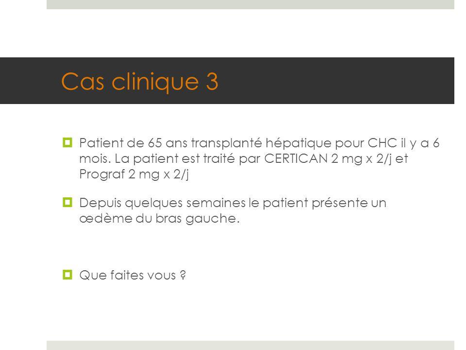 Cas clinique 3  Patient de 65 ans transplanté hépatique pour CHC il y a 6 mois. La patient est traité par CERTICAN 2 mg x 2/j et Prograf 2 mg x 2/j 