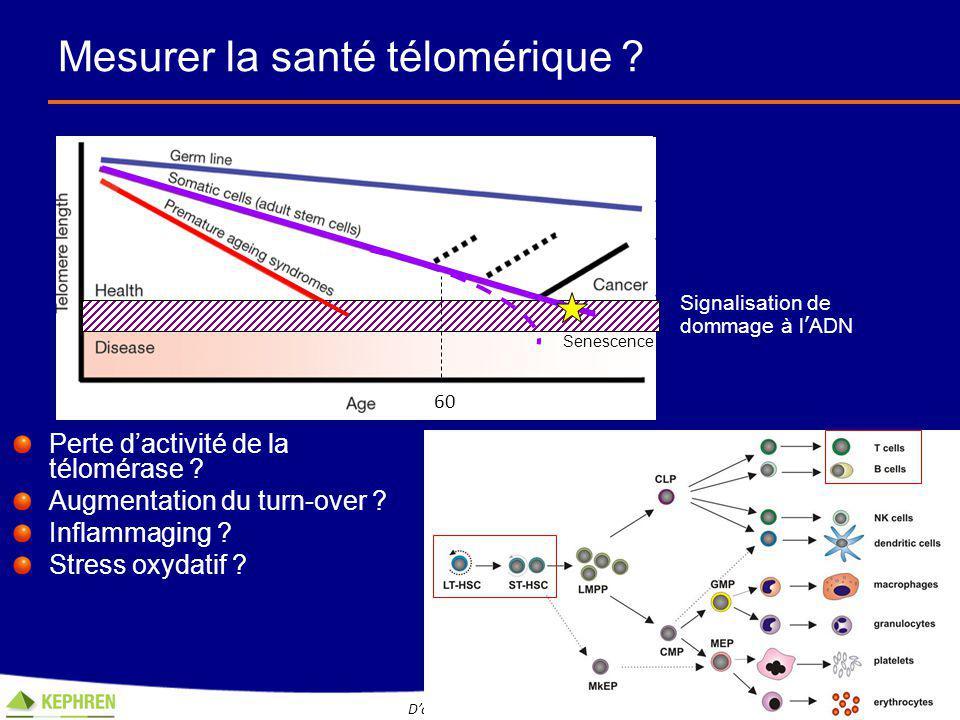 Les biomarqueurs de dommage à l'ADN Les protéines induites par le dysfonction télomérique et les dommages à l'ADN sont des biomarqueurs de vieillissement et de maladies dégénératives chez l'Homme 4 D'après la communication orale de Claire Falandry, 8 èmes Journées Nationales EPO-G Jiang et al, PNAs 2008