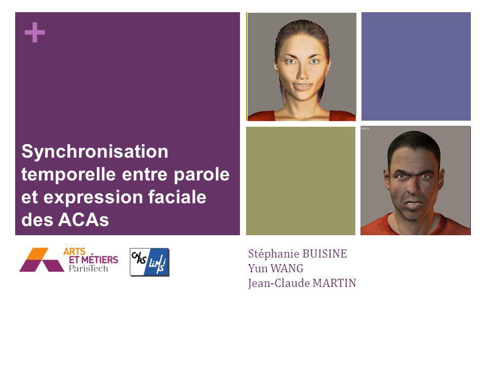 + Stéphanie BUISINE Yun WANG Jean-Claude MARTIN Synchronisation temporelle entre parole et expression faciale des ACAs