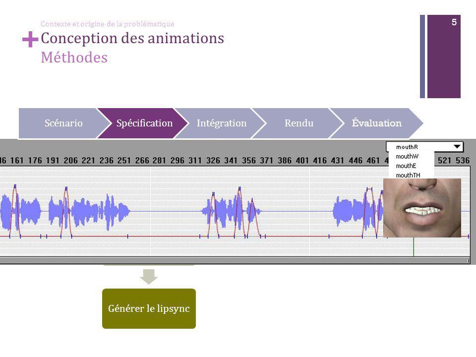 + 5 Spécification de l'expression faciale Générer le fichier audio Générer le lipsync ScénarioSpécificationIntégrationRendu Évaluation + Contexte et origine de la problématique Conception des animations Méthodes