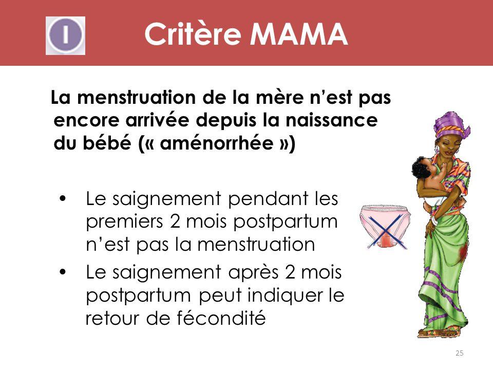 La menstruation de la mère n'est pas encore arrivée depuis la naissance du bébé (« aménorrhée ») Le saignement pendant les premiers 2 mois postpartum