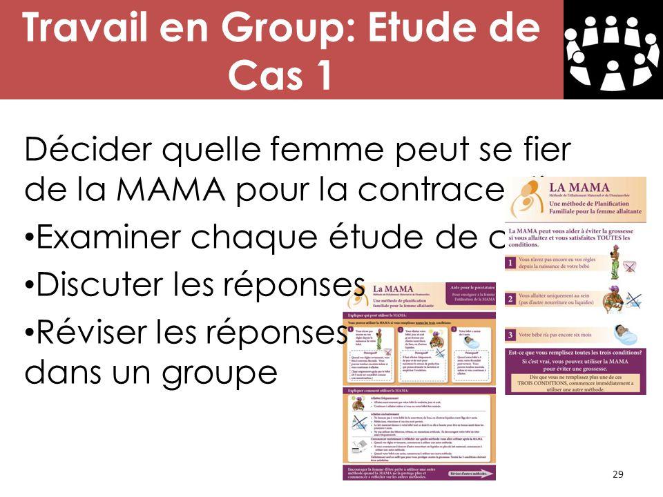 29 Travail en Group: Etude de Cas 1 Décider quelle femme peut se fier de la MAMA pour la contraception. Examiner chaque étude de cas Discuter les répo