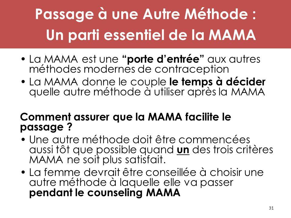 """31 Passage à une Autre Méthode : Un parti essentiel de la MAMA La MAMA est une """"porte d'entrée"""" aux autres méthodes modernes de contraception La MAMA"""