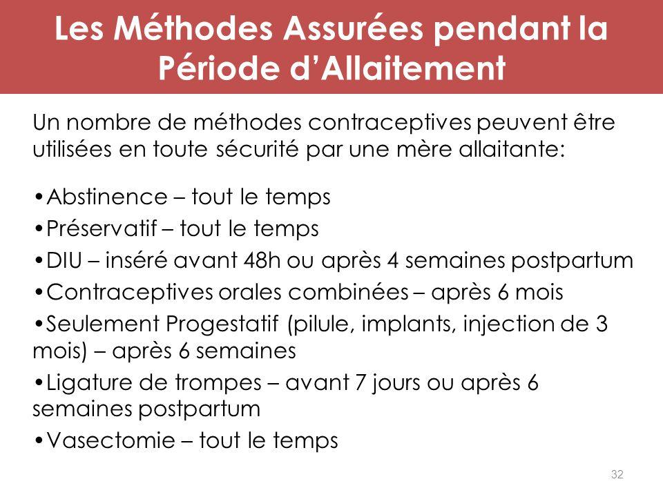 32 Les Méthodes Assurées pendant la Période d'Allaitement Un nombre de méthodes contraceptives peuvent être utilisées en toute sécurité par une mère a