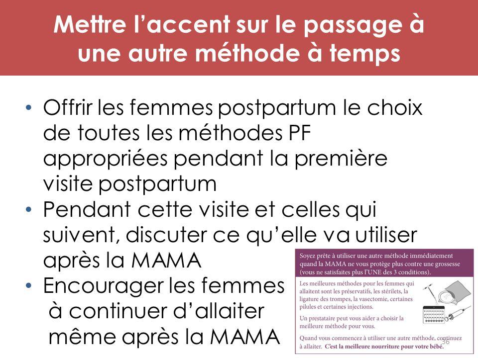 Mettre l'accent sur le passage à une autre méthode à temps Offrir les femmes postpartum le choix de toutes les méthodes PF appropriées pendant la prem
