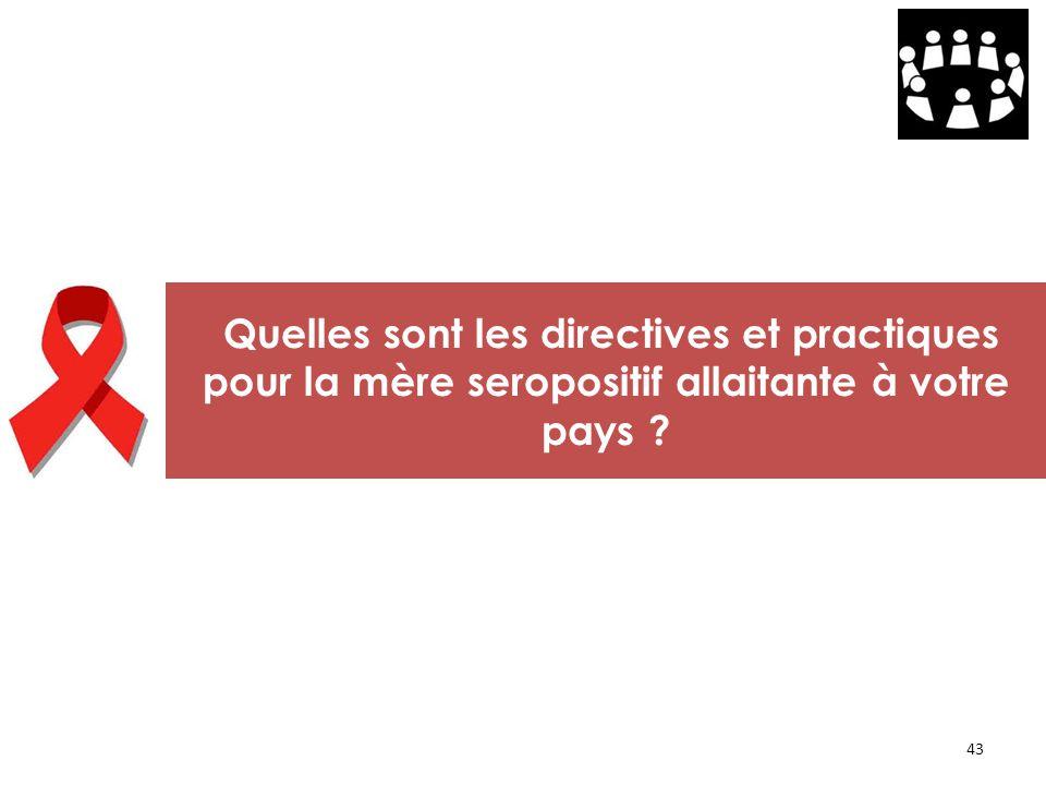 43 Quelles sont les directives et practiques pour la mère seropositif allaitante à votre pays ?