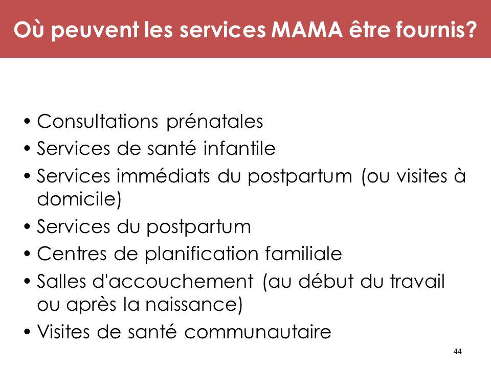 44 Les Opportunités à Conseiller sur la MAMA Consultations prénatales Services de santé infantile Services immédiats du postpartum (ou visites à domic