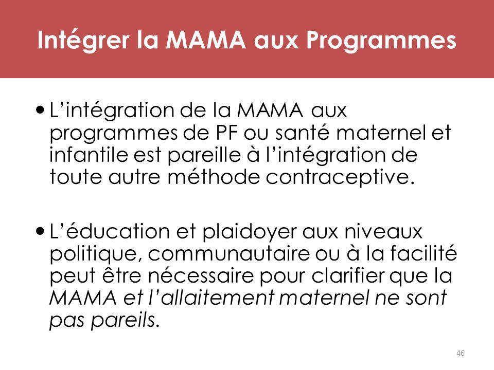L'intégration de la MAMA aux programmes de PF ou santé maternel et infantile est pareille à l'intégration de toute autre méthode contraceptive. L'éduc