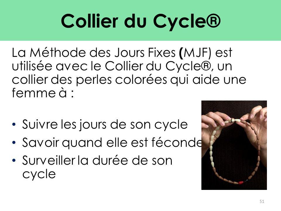La Méthode des Jours Fixes ( MJF) est utilisée avec le Collier du Cycle®, un collier des perles colorées qui aide une femme à : Suivre les jours de so