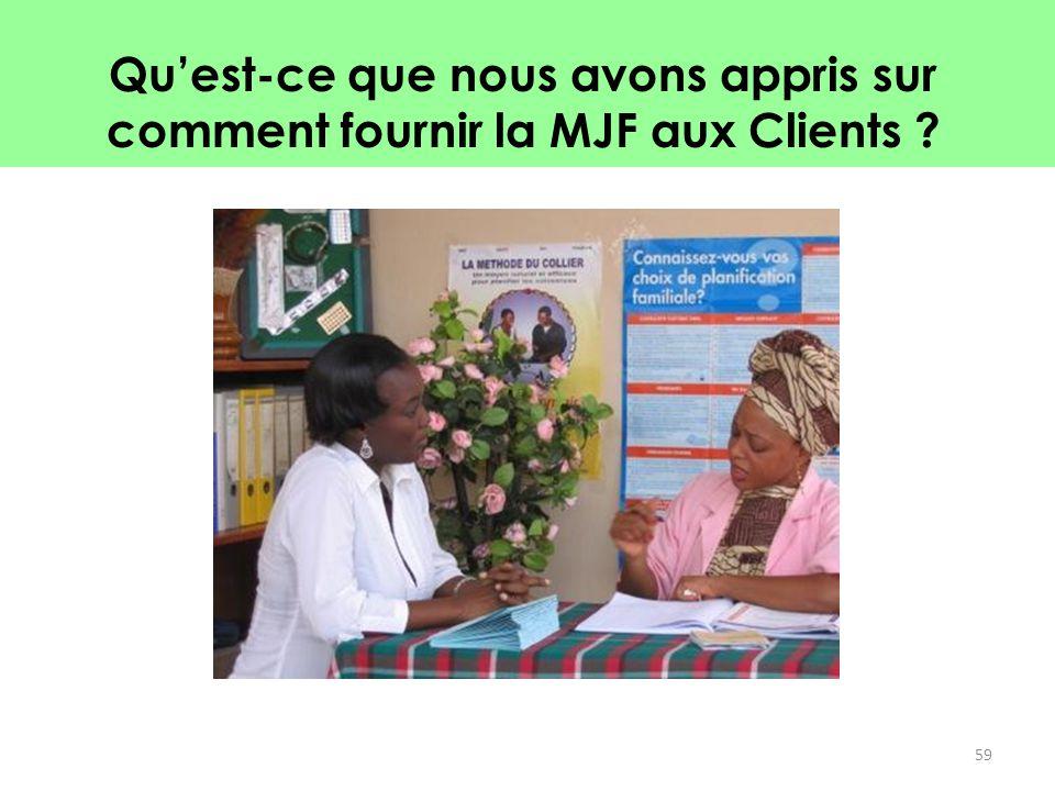 Qu'est-ce que nous avons appris sur comment fournir la MJF aux Clients ? 59