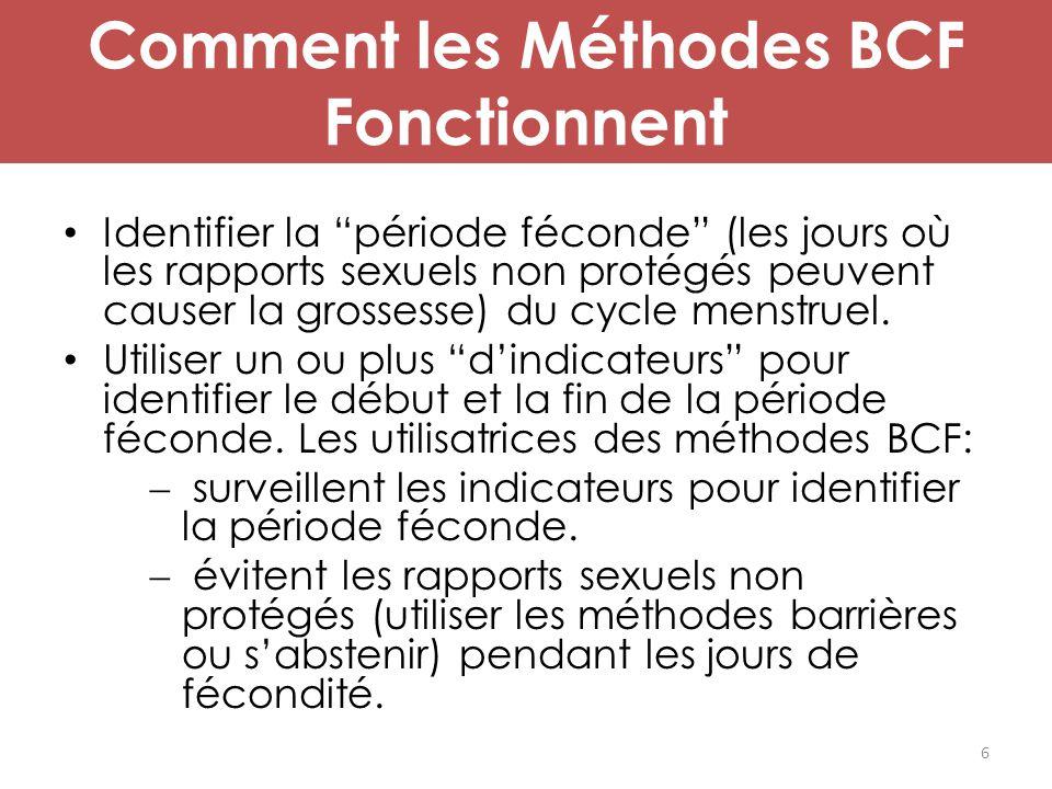 """Comment les Méthodes BCF Fonctionnent Identifier la """"période féconde"""" (les jours où les rapports sexuels non protégés peuvent causer la grossesse) du"""
