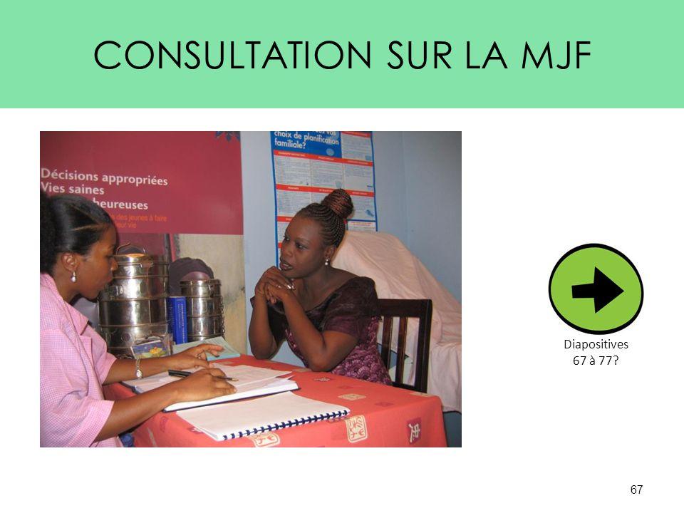 CONSULTATION SUR LA MJF 67 Diapositives 67 à 77?