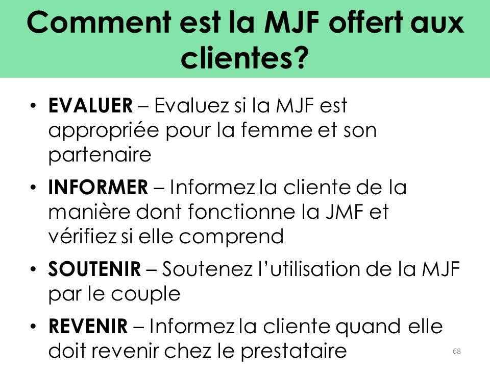 Comment est la MJF offert aux clientes? EVALUER – Evaluez si la MJF est appropriée pour la femme et son partenaire INFORMER – Informez la cliente de l
