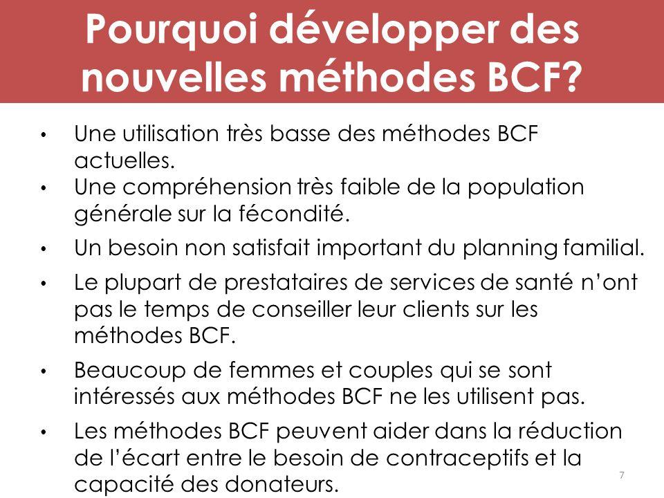 Pourquoi développer des nouvelles méthodes BCF? Une utilisation très basse des méthodes BCF actuelles. Une compréhension très faible de la population