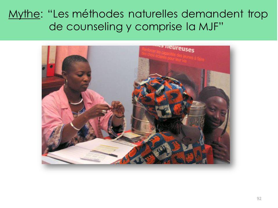 """Mythe: """"Les méthodes naturelles demandent trop de counseling y comprise la MJF"""" Fait : La MJF est facile à enseigner et prendre aussi longtemps que le"""