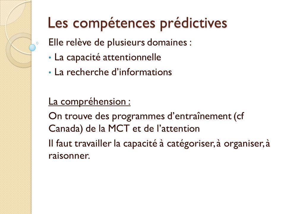 Les compétences prédictives Elle relève de plusieurs domaines : La capacité attentionnelle La recherche d'informations La compréhension : On trouve de