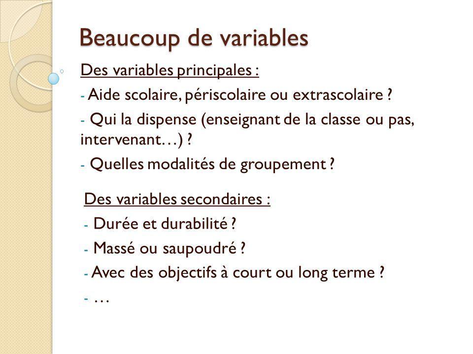 Beaucoup de variables Des variables principales : - Aide scolaire, périscolaire ou extrascolaire ? - Qui la dispense (enseignant de la classe ou pas,