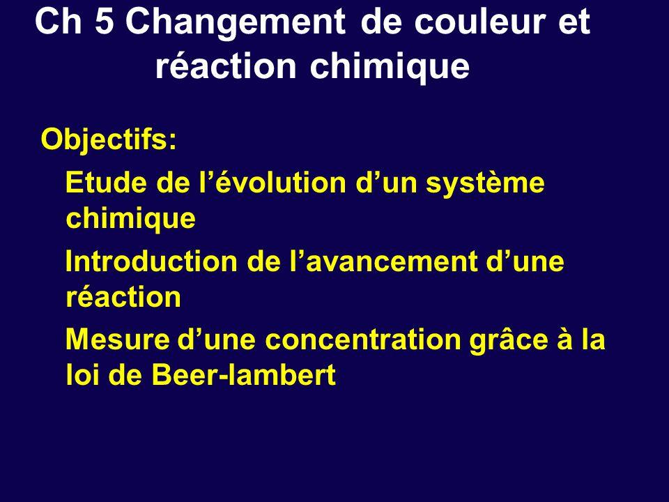 Ch 5 Changement de couleur et réaction chimique Objectifs: Etude de l'évolution d'un système chimique Introduction de l'avancement d'une réaction Mesure d'une concentration grâce à la loi de Beer-lambert