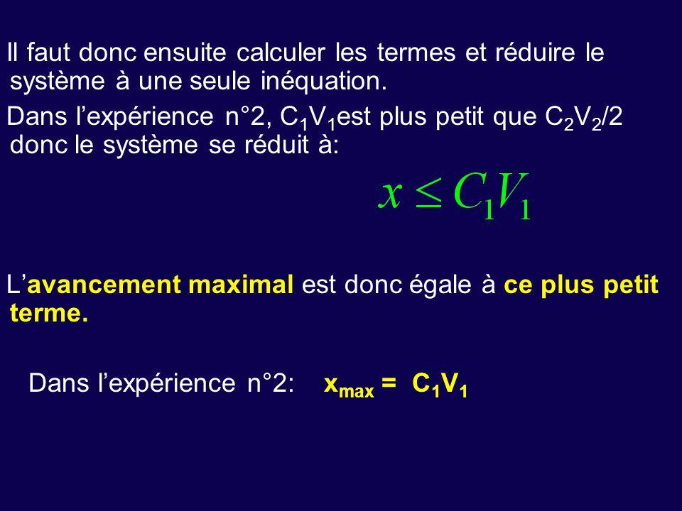 Il faut donc ensuite calculer les termes et réduire le système à une seule inéquation. Dans l'expérience n°2, C 1 V 1 est plus petit que C 2 V 2 /2 do
