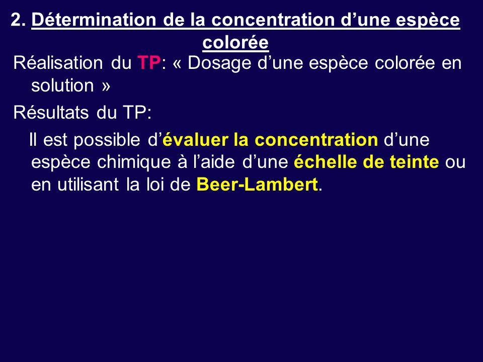 2. Détermination de la concentration d'une espèce colorée Réalisation du TP: « Dosage d'une espèce colorée en solution » Résultats du TP: Il est possi