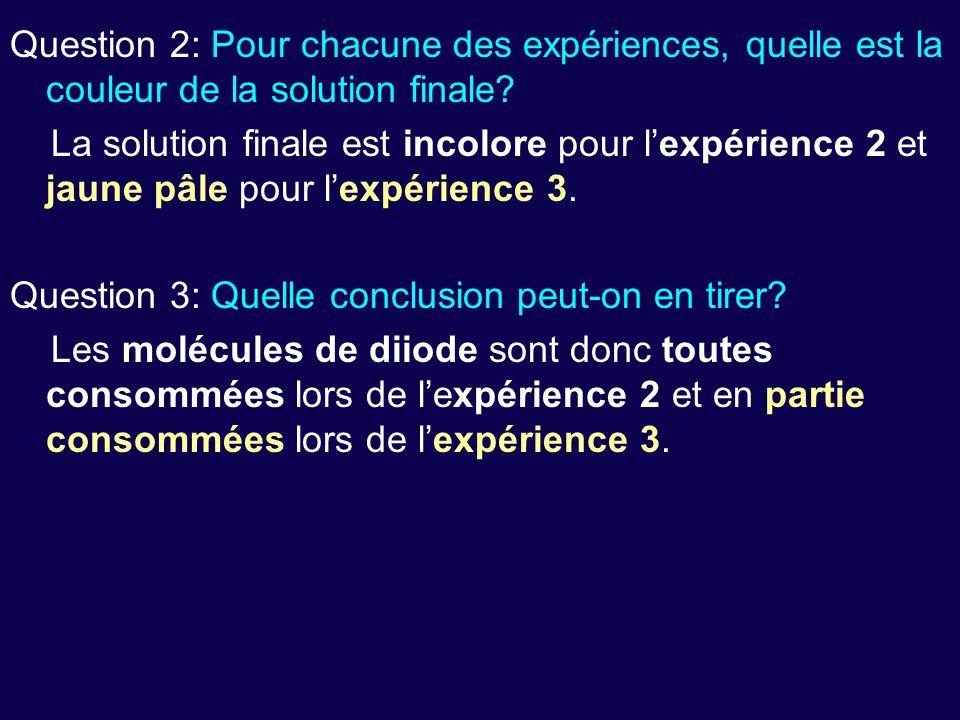 Question 2: Pour chacune des expériences, quelle est la couleur de la solution finale? La solution finale est incolore pour l'expérience 2 et jaune pâ