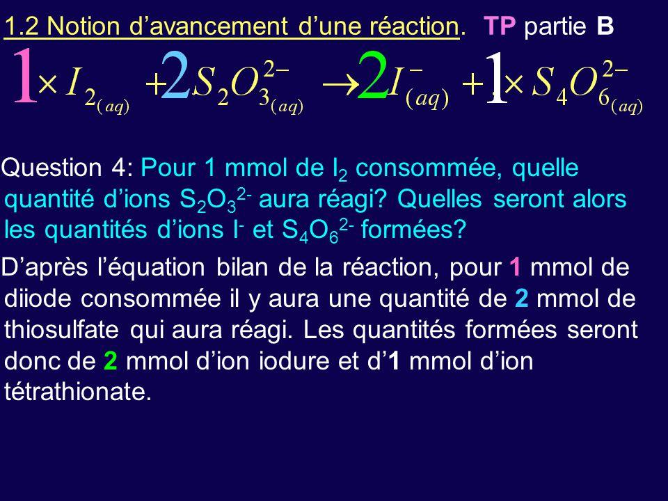 1.2 Notion d'avancement d'une réaction. TP partie B Question 4: Pour 1 mmol de I 2 consommée, quelle quantité d'ions S 2 O 3 2- aura réagi? Quelles se