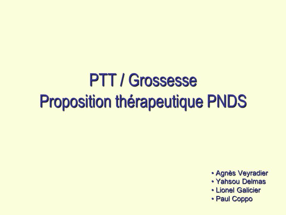 PTT / Grossesse Proposition thérapeutique PNDS Agnès Veyradier Agnès Veyradier Yahsou Delmas Yahsou Delmas Lionel Galicier Lionel Galicier Paul Coppo