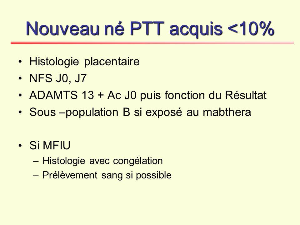 Nouveau né PTT acquis <10% Histologie placentaire NFS J0, J7 ADAMTS 13 + Ac J0 puis fonction du Résultat Sous –population B si exposé au mabthera Si M