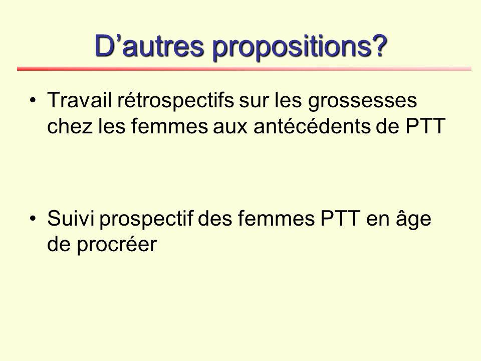 D'autres propositions? Travail rétrospectifs sur les grossesses chez les femmes aux antécédents de PTT Suivi prospectif des femmes PTT en âge de procr