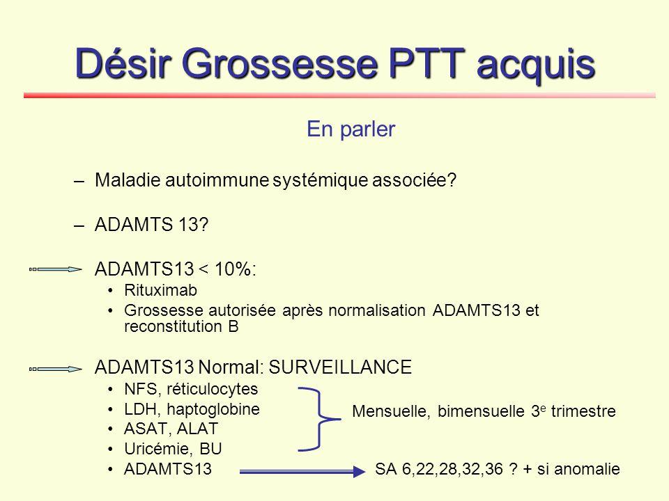 Désir Grossesse PTT acquis En parler –Maladie autoimmune systémique associée? –ADAMTS 13? ADAMTS13 < 10%: Rituximab Grossesse autorisée après normalis