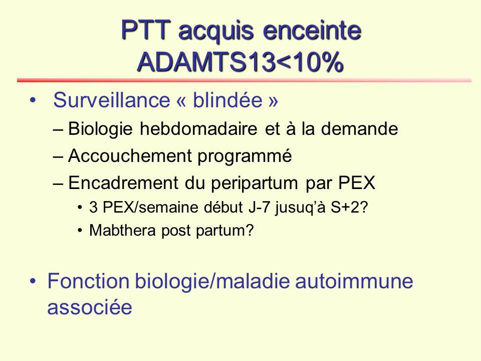 PTT acquis enceinte ADAMTS13<10% Surveillance « blindée » –Biologie hebdomadaire et à la demande –Accouchement programmé –Encadrement du peripartum pa