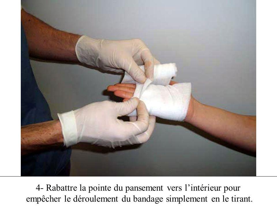 4- Rabattre la pointe du pansement vers l'intérieur pour empêcher le déroulement du bandage simplement en le tirant.