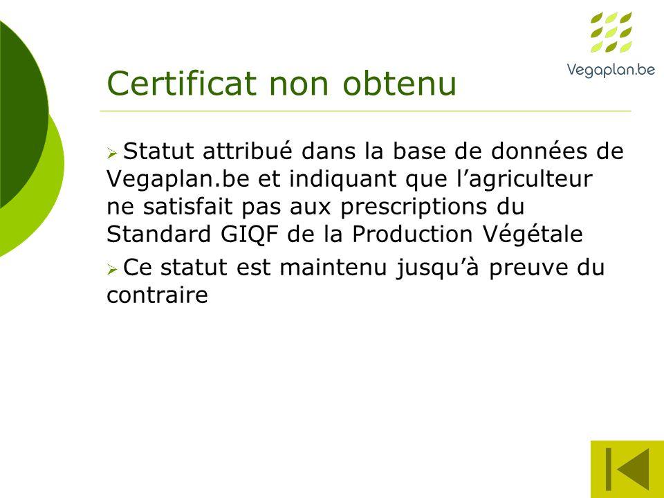 Certificat non obtenu  Statut attribué dans la base de données de Vegaplan.be et indiquant que l'agriculteur ne satisfait pas aux prescriptions du Standard GIQF de la Production Végétale  Ce statut est maintenu jusqu'à preuve du contraire
