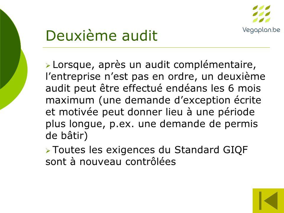 Deuxième audit  Lorsque, après un audit complémentaire, l'entreprise n'est pas en ordre, un deuxième audit peut être effectué endéans les 6 mois maximum (une demande d'exception écrite et motivée peut donner lieu à une période plus longue, p.ex.